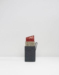 Мини-клатч с принтом губной помады и отделкой блестками Lulu Guinness - Черный