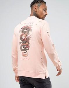 Свитшот с принтом дракона на спине Criminal Damage - Розовый