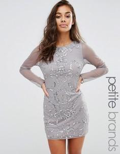 Декорированное платье мини с длинными рукавами Boohoo Petite - Серебряный