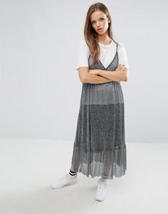 Блестящее полупрозрачное платье миди STYLENANDA - Серый