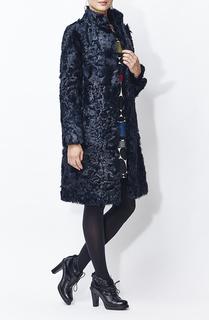 Шуба из меха овчины с кожаным поясом Virtuale Fur Collection