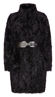 Шуба из меха овчины с оригинальным кожаным ремнем Virtuale Fur Collection