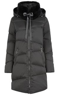 Пальто оверсайз со съемным воротником из меха кролика La Reine Blanche