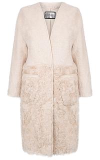 Кашемировое пальто с мехом козлика Virtuale Fur Collection