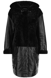 Комбинированное пальто из овчины астраган и натуральной кожи с капюшоном Le Monique