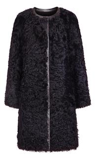 Шуба из меха овчины на молнии и с отделкой из натуральной кожи Virtuale Fur Collection