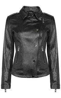 кожаная куртка-косуха с клепками и погонами La Reine Blanche