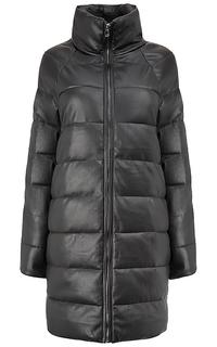 Утепленное пальто из экокожи La Reine Blanche