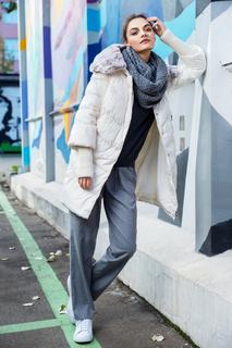 Утепленное пальто с отделкой из трикотажа и меха кролика Acasta