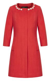 Красное приталенное пальто с жемчужным декором Acasta