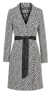 Пальто с контрастным принтом и поясом La Reine Blanche