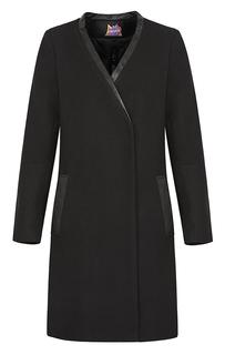 Лаконичное пальто с отделкой из эко кожи Neohit