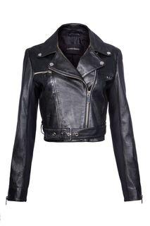 Кожаная куртка-косуха с трикотажными вставками La Reine Blanche