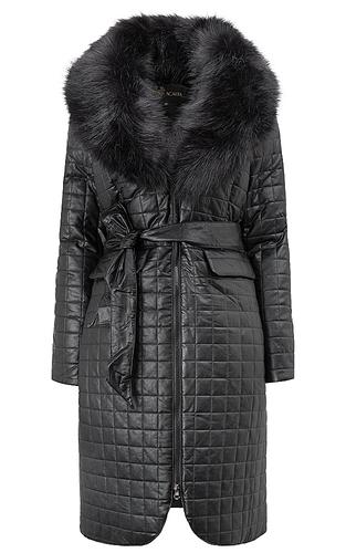 Утепленное пальто из экокожи с отделкой искусственным мехом