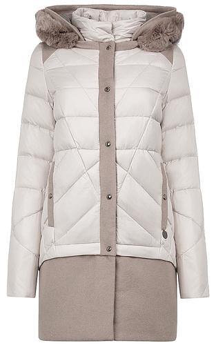 Комбинированное пальто на натуральном пуху