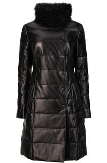 Утепленное пальто из натуральной кожи с отделкой мехом козлика La Reine Blanche