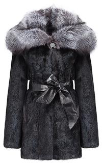Норковая шуба с отделкой мехом серебристо-черной лисы Flaumfeder