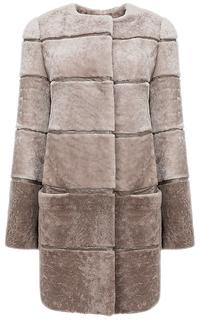 Пальто из овчины с отделкой натуральной кожей Снежная Королева
