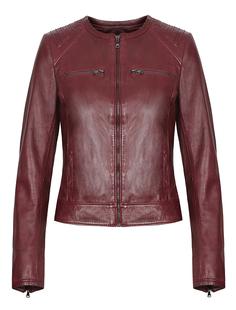 Кожаная куртка на молнии с декоративной стежкой La Reine Blanche