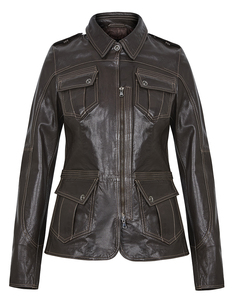 Кожаная куртка с накладными карманами La Reine Blanche