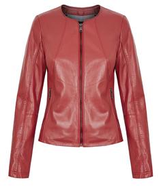 Кожаная куртка-жакет на молнии без воротника La Reine Blanche