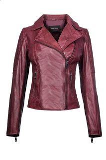 Кожаная куртка - косуха с декоративной отстрочкой La Reine Blanche