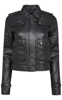 укороченная кожаная куртка с погонами La Reine Blanche