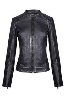 Кожаная куртка на молнии с фактурной прострочкой La Reine Blanche