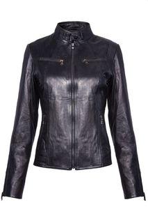 Приталенная кожаная куртка на молнии La Reine Blanche