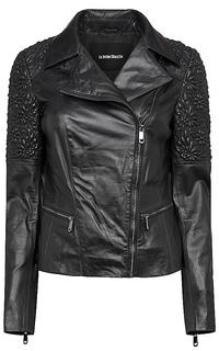куртка из натуральной кожи с вышивкой La Reine Blanche