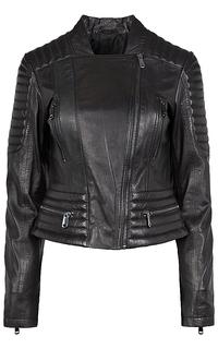 Кожаная куртка-жакет с фактурной отстрочкой La Reine Blanche