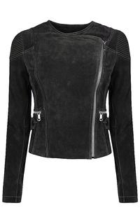 укороченная куртка из замши в мото-стиле La Reine Blanche