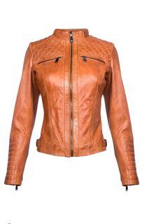 Кожаная куртка с оригинальной отстрочкой La Reine Blanche