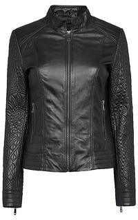 утепленная кожаная куртка-жакет с вышивкой La Reine Blanche