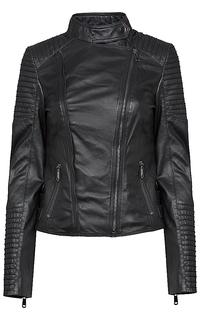 утепленная кожаная куртка с отстрочкой La Reine Blanche