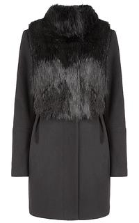 Комбинированное пальто с мехом Элема