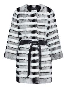 Шуба из меха кролика с кожаным поясом Virtuale Fur Collection