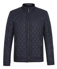 Темно-синяя стеганая куртка на синтепоне с воротником-стойкой Al Franco