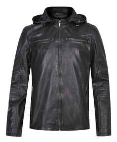 Кожаная куртка c капюшоном Urban Fashion For Men