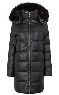 Утепленное пальто из экокожи с отделкой мехом песца La Reine Blanche