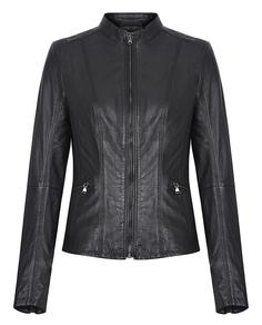 Кожаная куртка на молнии с декоративной отстрочкой La Reine Blanche