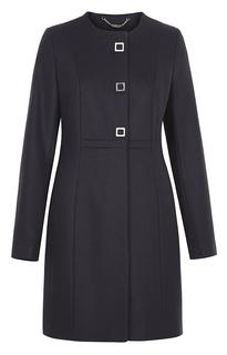 Приталенное пальто из вирджинской шерсти без воротника и завышенной линией талии Your Line