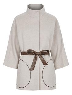 Шерстяное пальто с контрастным поясом La Reine Blanche