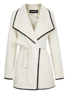 Пальто-халат с контрастной отделкой La Reine Blanche