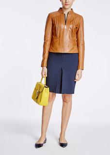 Кожаная куртка на молнии с отстрочкой La Reine Blanche