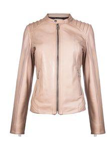 Кожаная куртка с фактурной прострочкой La Reine Blanche