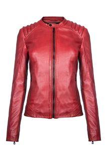 Кожаная куртка яркого цвета с фактурной прострочкой La Reine Blanche
