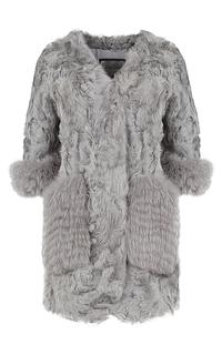 Шуба из козлика с отделкой мехом песца Virtuale Fur Collection