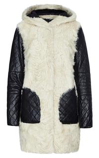 Шуба из меха овчины с отделкой  поясом из натуральной кожи Virtuale Fur Collection