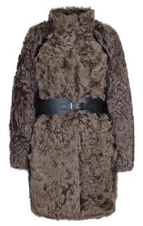 Шуба из меха овчины с кожаной отделкой Virtuale Fur Collection